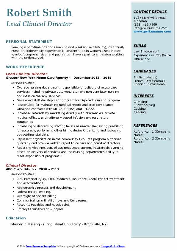 Lead Clinical Director Resume Format