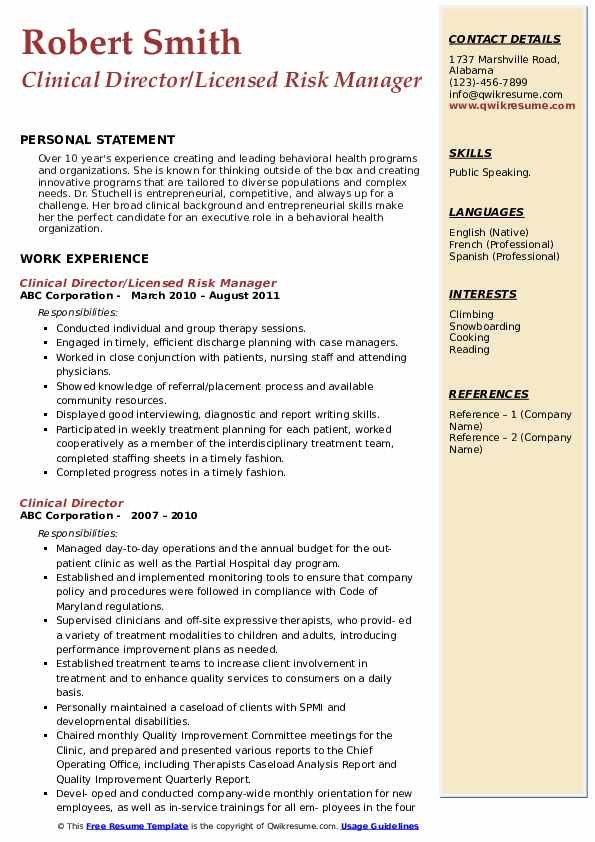 Clinical Director/Licensed Risk Manager  Resume Example