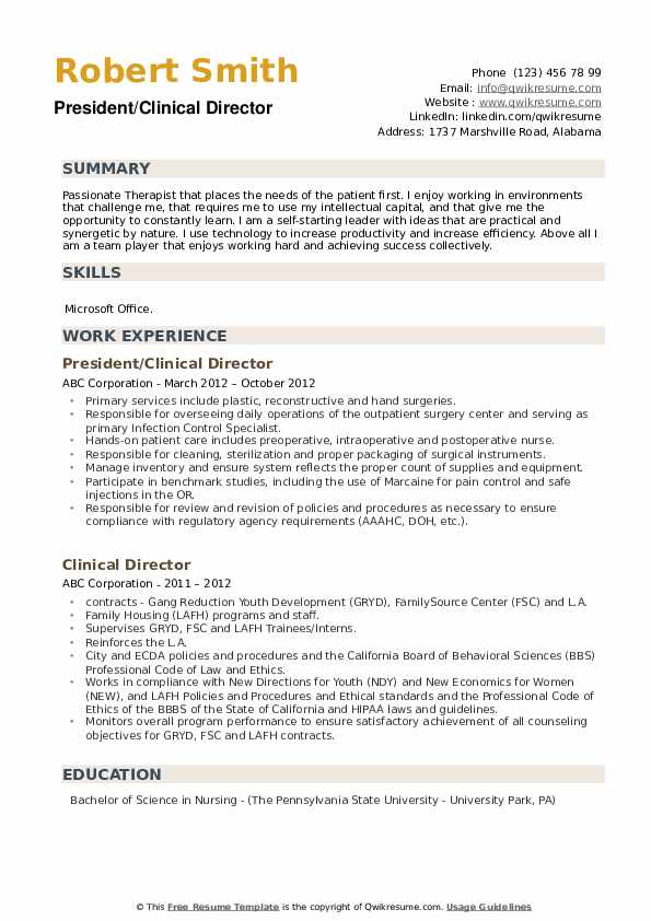 President/Clinical Director Resume Format