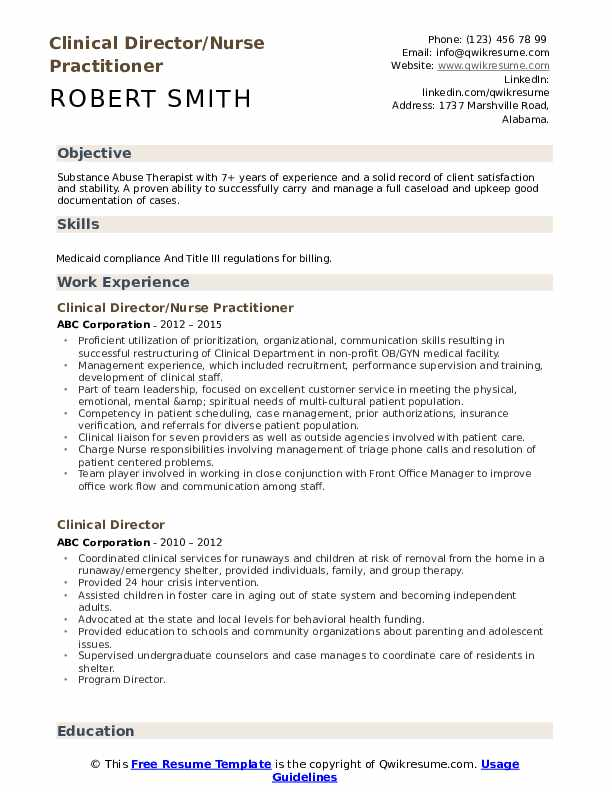 Clinical Director/Nurse Practitioner Resume Model