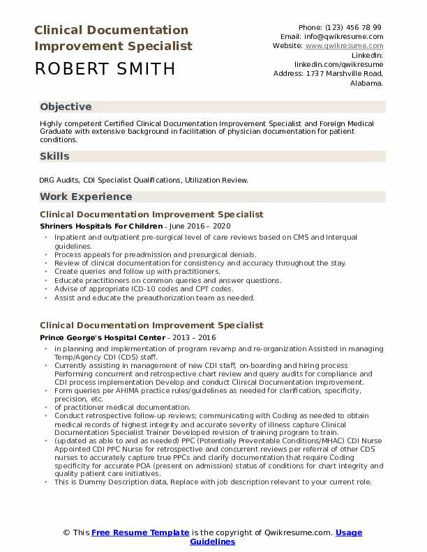 Clinical Documentation Improvement Specialist Resume example