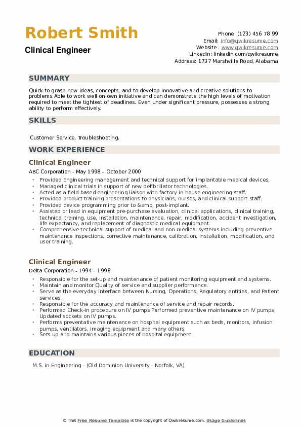 Clinical Engineer Resume example