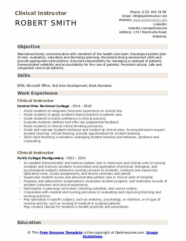 Clinical Instructor Resume Format