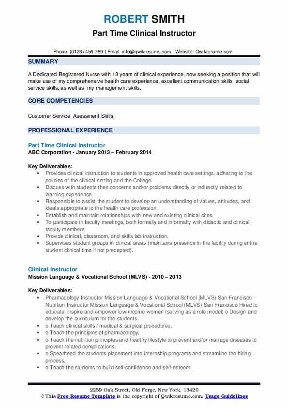Part Time Clinical Instructor Resume Sample