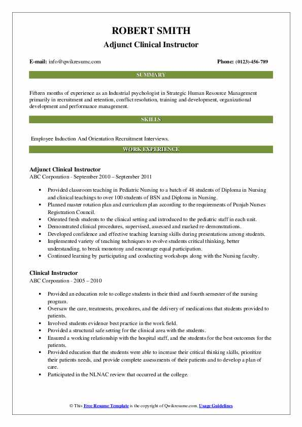 Adjunct Clinical Instructor Resume Model