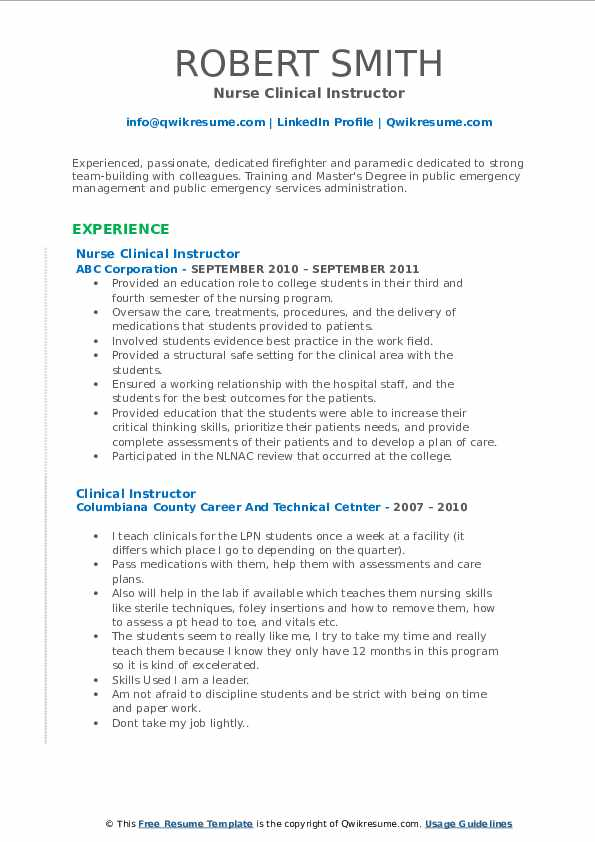 Nurse Clinical Instructor Resume Format