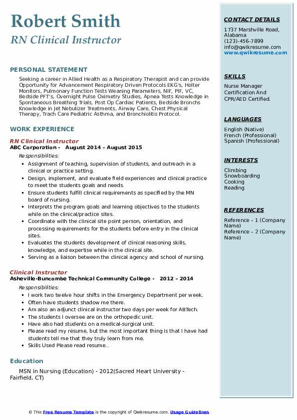 Clinical Instructor Resume Samples Qwikresume