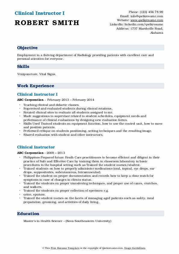 Clinical Instructor I Resume Model