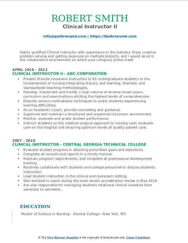 Clinical Instructor II Resume Template