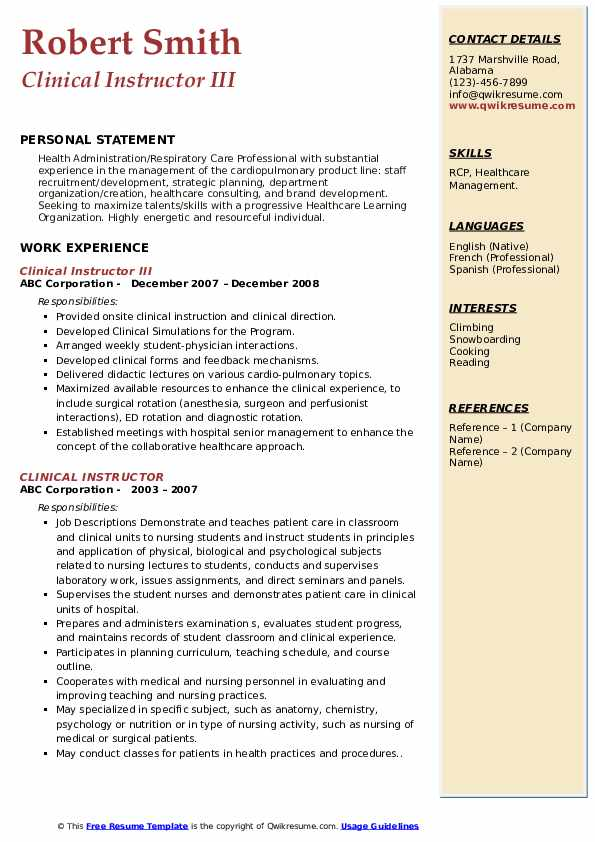 Clinical Instructor III Resume Example