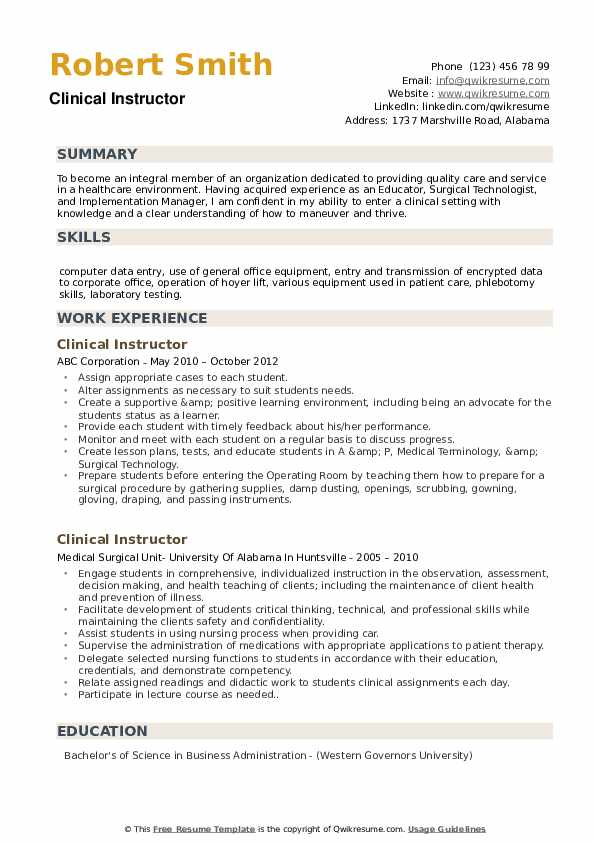 Clinical Instructor Resume Sample