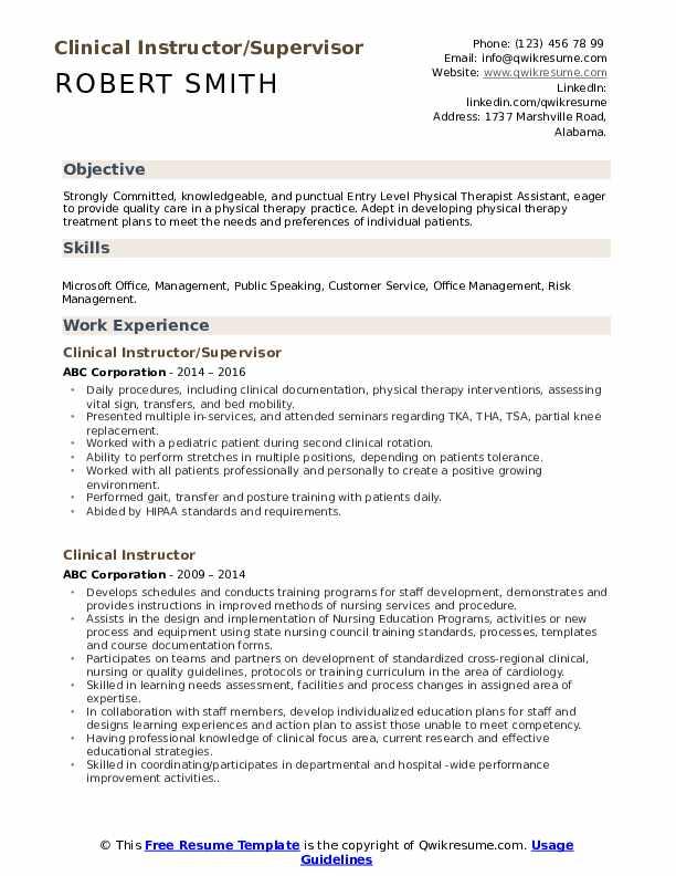 Clinical Instructor/Supervisor Resume Sample