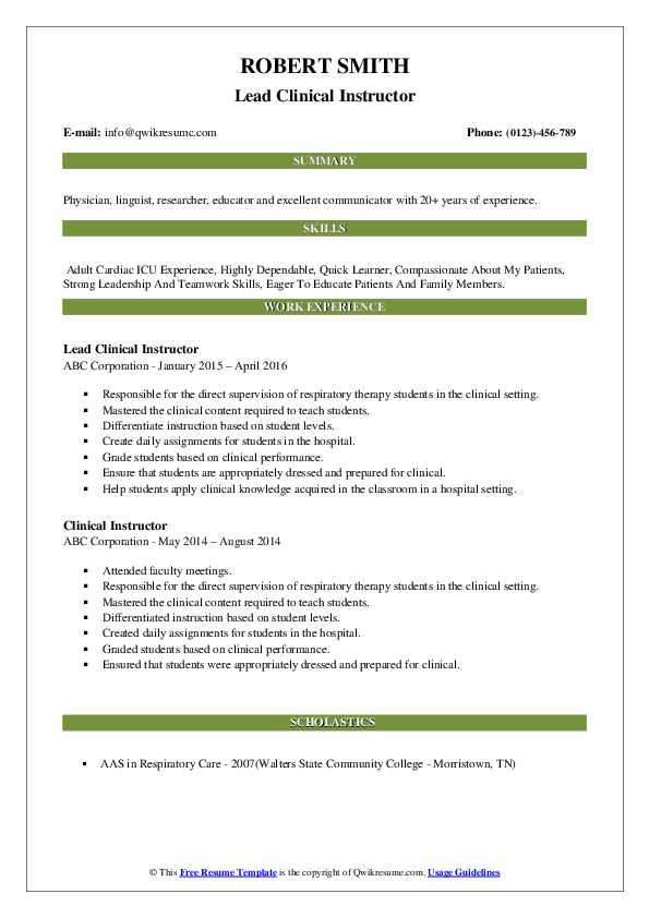 Lead Clinical Instructor Resume Sample