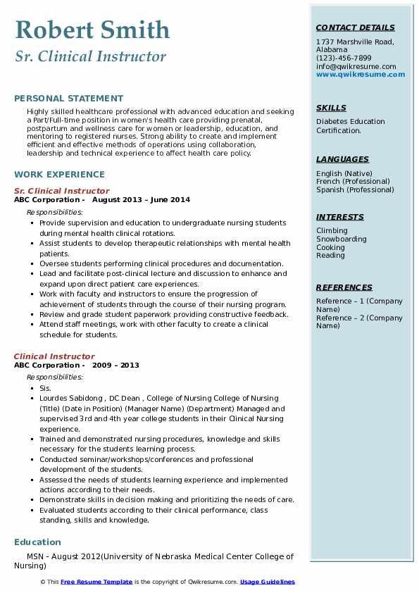 Sr. Clinical Instructor Resume Format