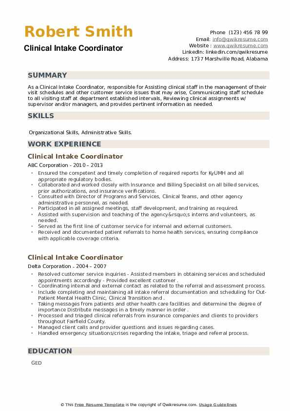 Clinical Intake Coordinator Resume example