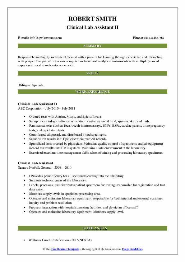 clinical lab assistant resume samples