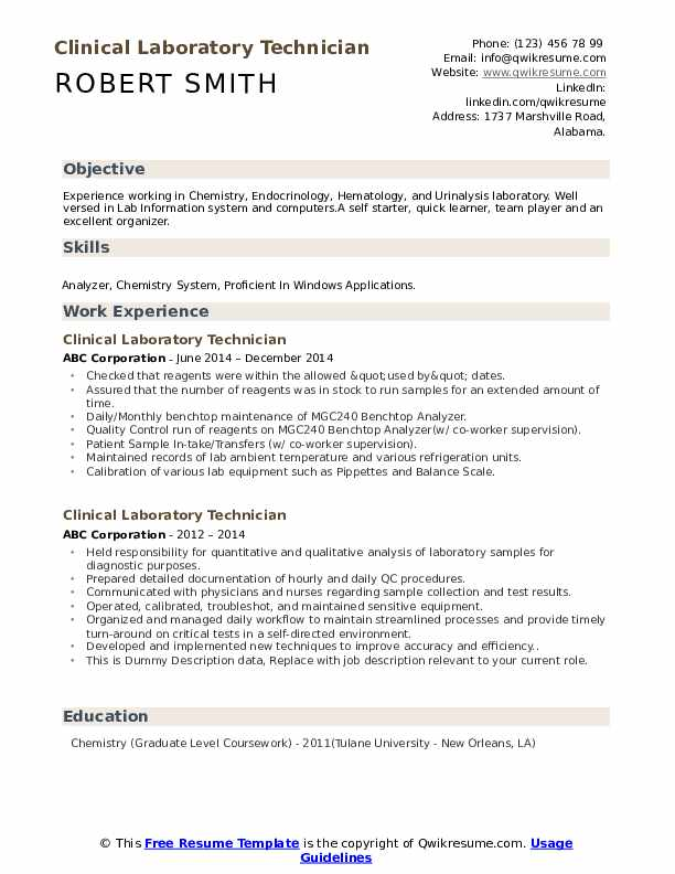 Clinical Laboratory Technician Resume example