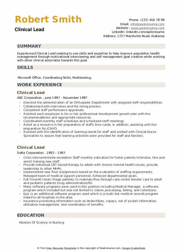 Clinical Lead Resume example