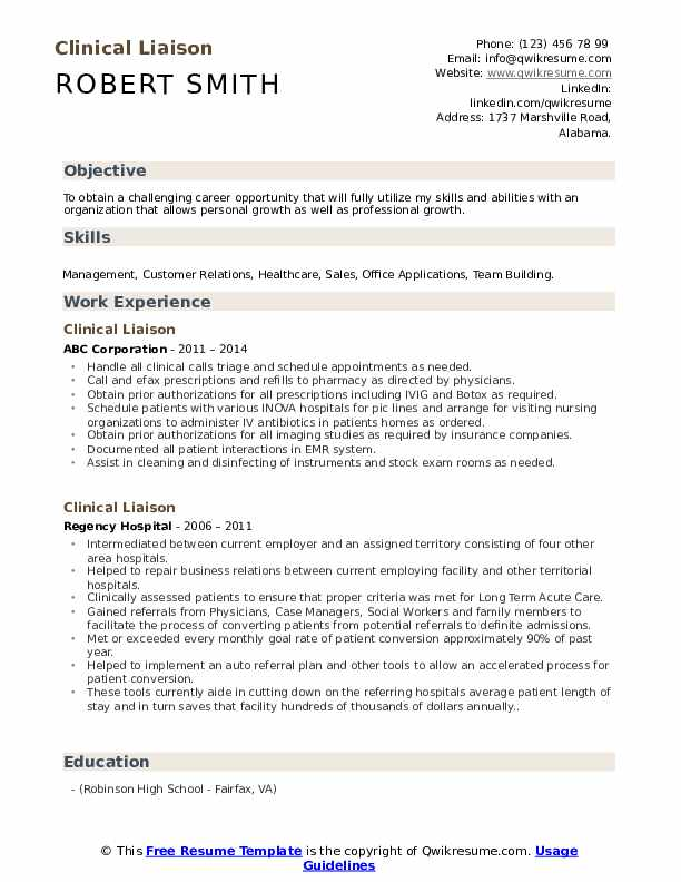 Clinical Liaison Resume Model