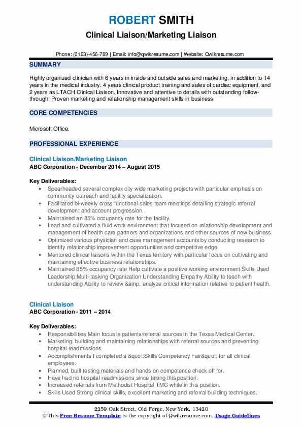 Clinical Liaison/Marketing Liaison Resume Model
