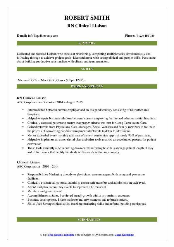 RN Clinical Liaison Resume Sample