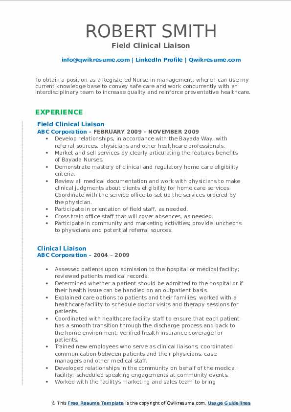Field Clinical Liaison Resume Model