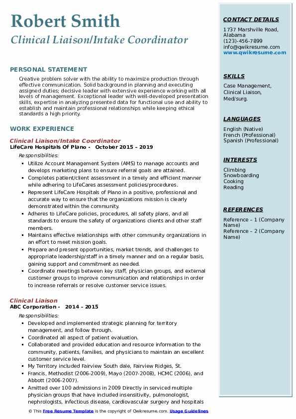Clinical Liaison/Intake Coordinator Resume Template