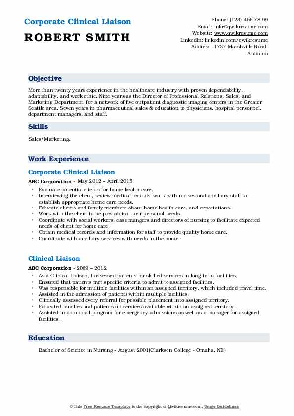 Corporate Clinical Liaison Resume Format