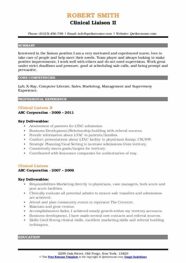 Clinical Liaison II Resume Model