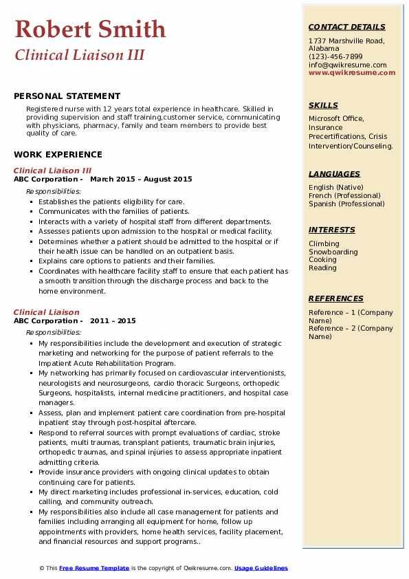 Clinical Liaison III Resume Sample