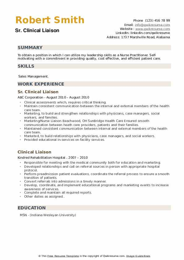 Sr. Clinical Liaison Resume Example