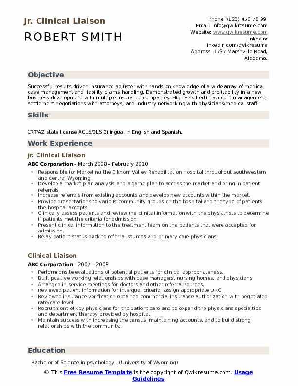Jr. Clinical Liaison Resume Model