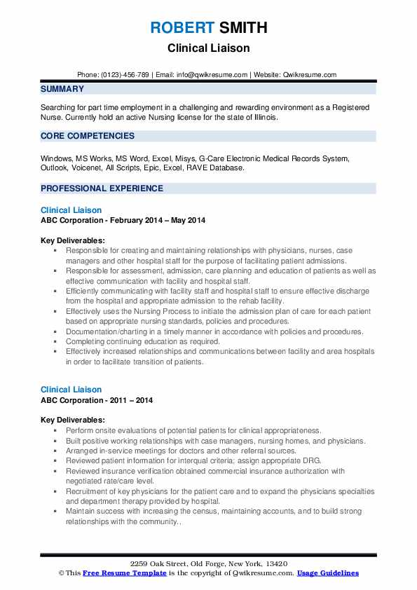 Clinical Liaison Resume Samples Qwikresume
