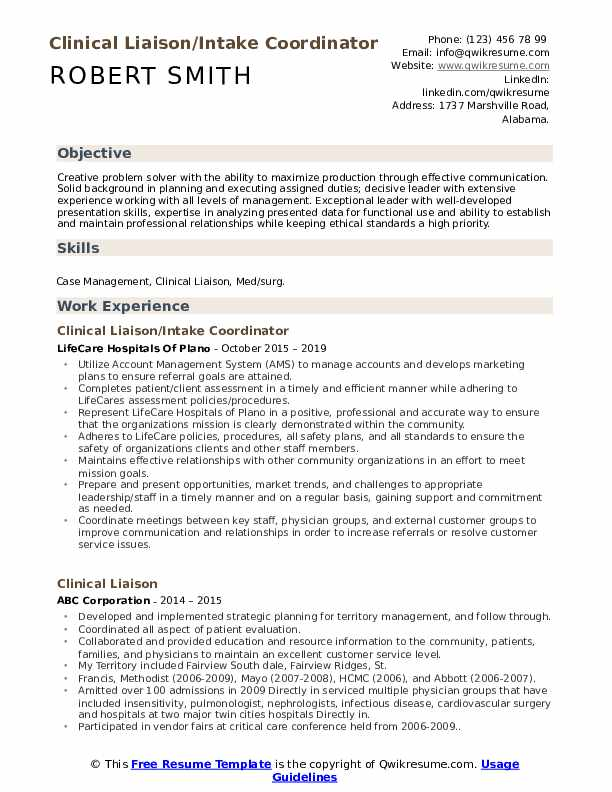 Physician Liaison Resume Template