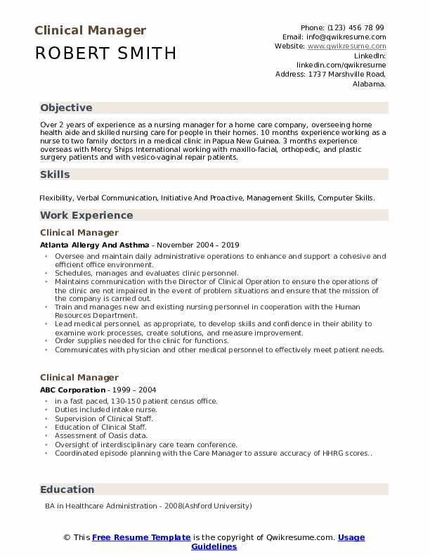 Clinical Manager Resume Model