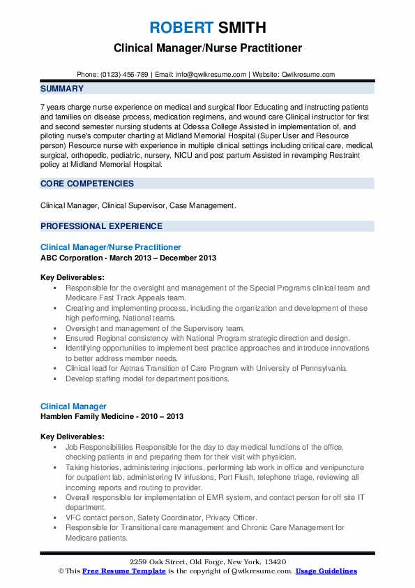 Clinical Manager/Nurse Practitioner Resume Format