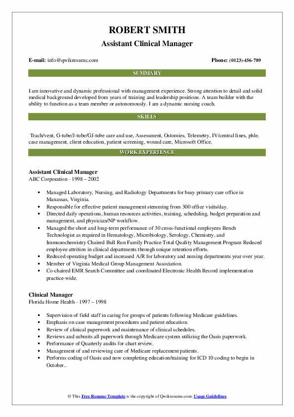 Assistant Clinical Manager Resume Example