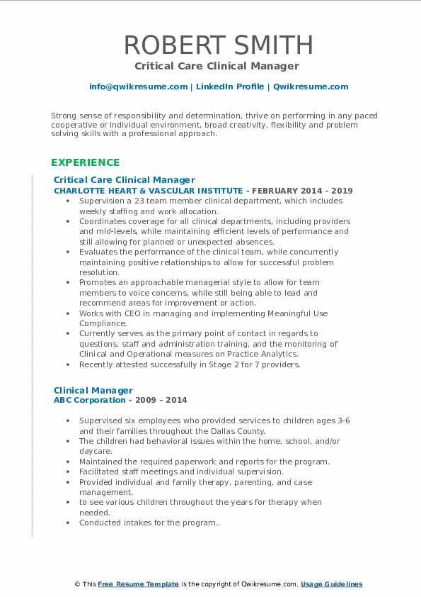 Critical Care Clinical Manager  Resume Example