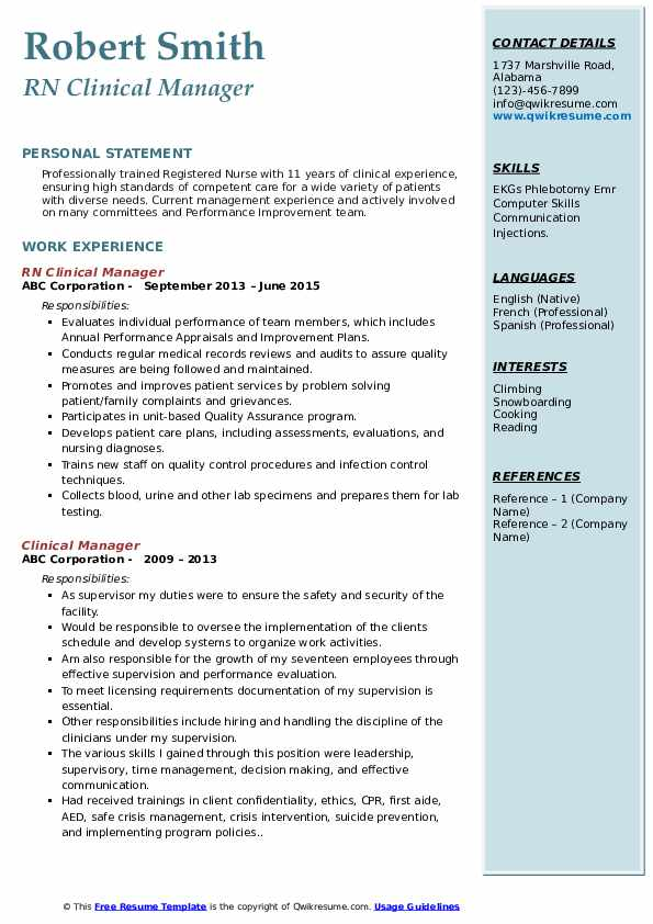 RN Clinical Manager Resume Template