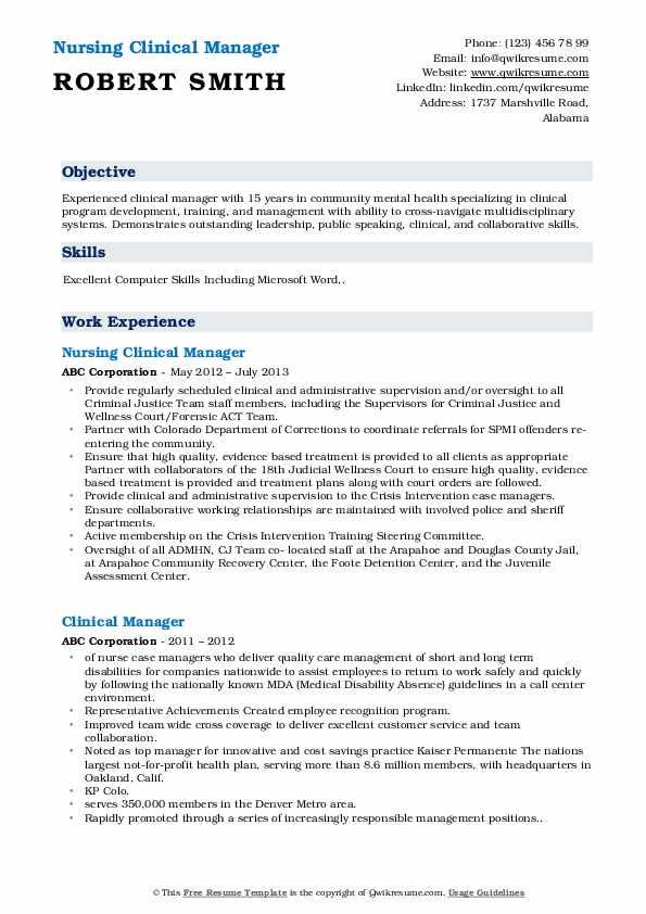 Nursing Clinical Manager Resume Format