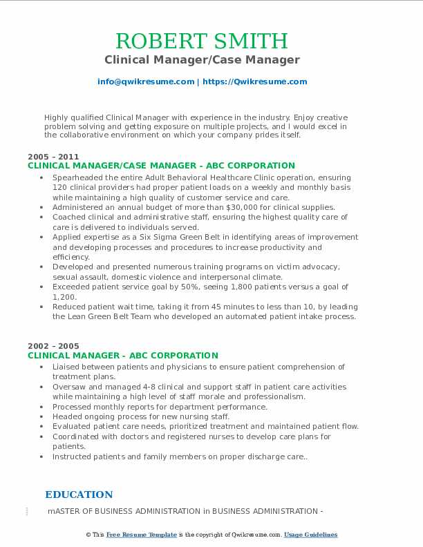 Clinical Manager/Case Manager Resume Sample