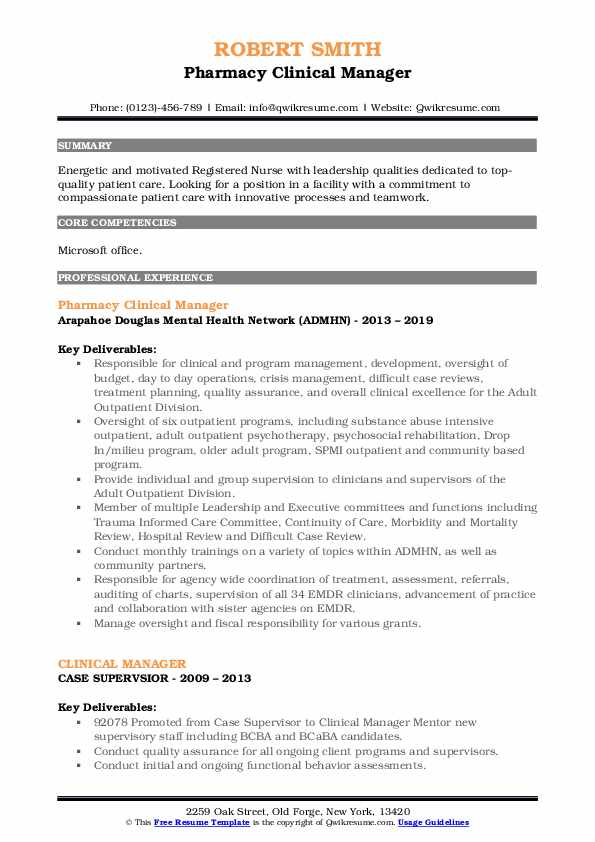 Pharmacy Clinical Manager Resume Model