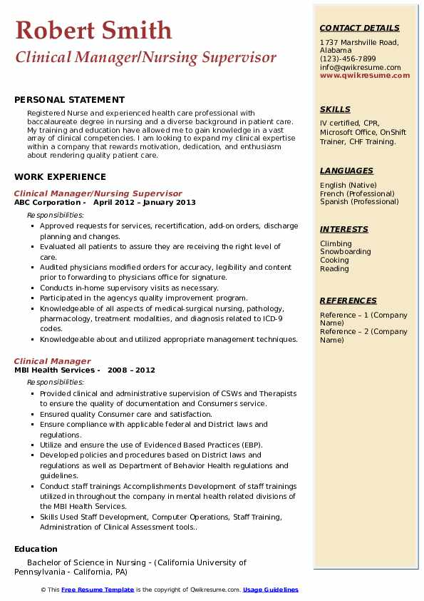 Clinical Manager/Nursing Supervisor Resume Model