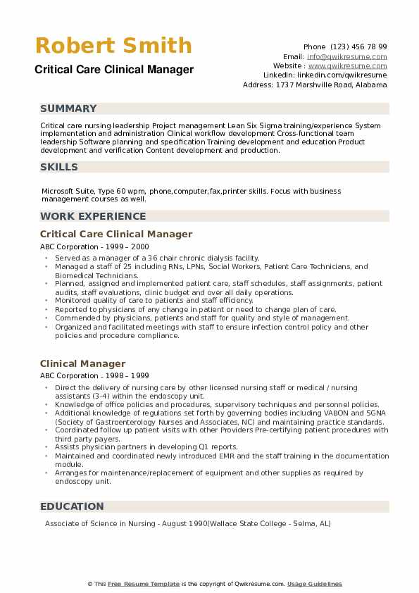 Critical Care Clinical Manager Resume Model