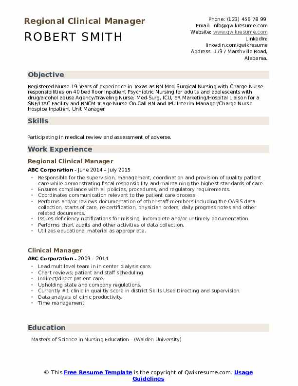 Regional Clinical Manager Resume Example