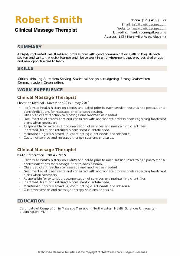 Clinical Massage Therapist Resume example