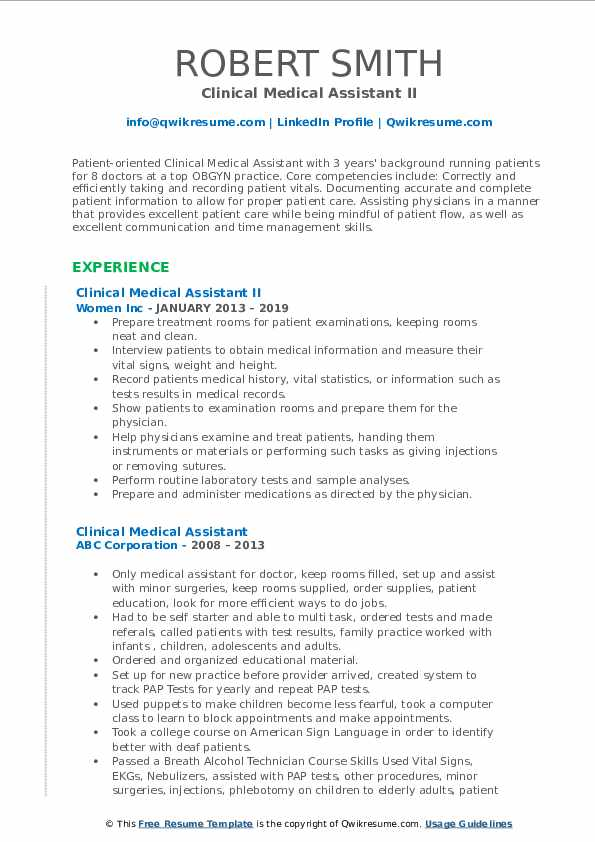 Clinical Medical Assistant II Resume Sample