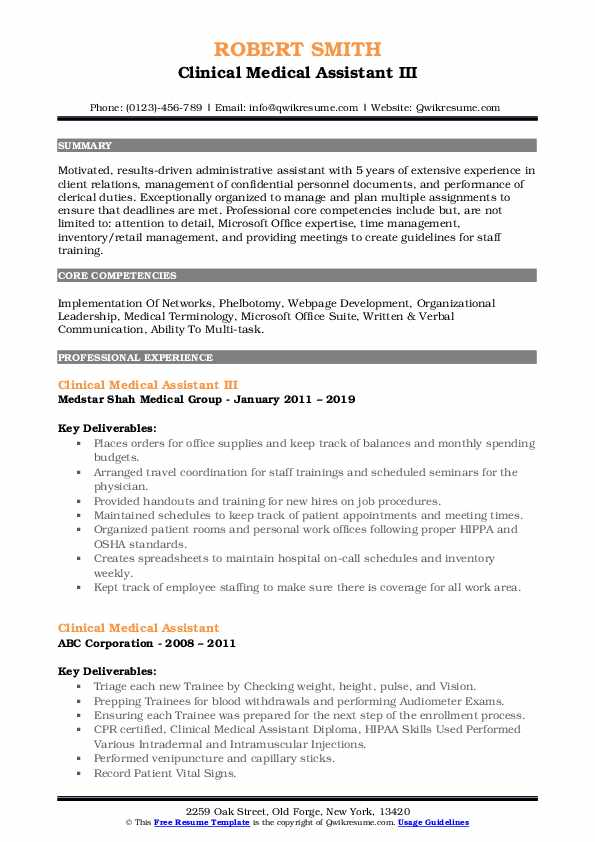 Clinical Medical Assistant III Resume Example