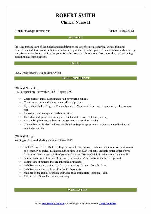 Clinical Nurse II Resume Model