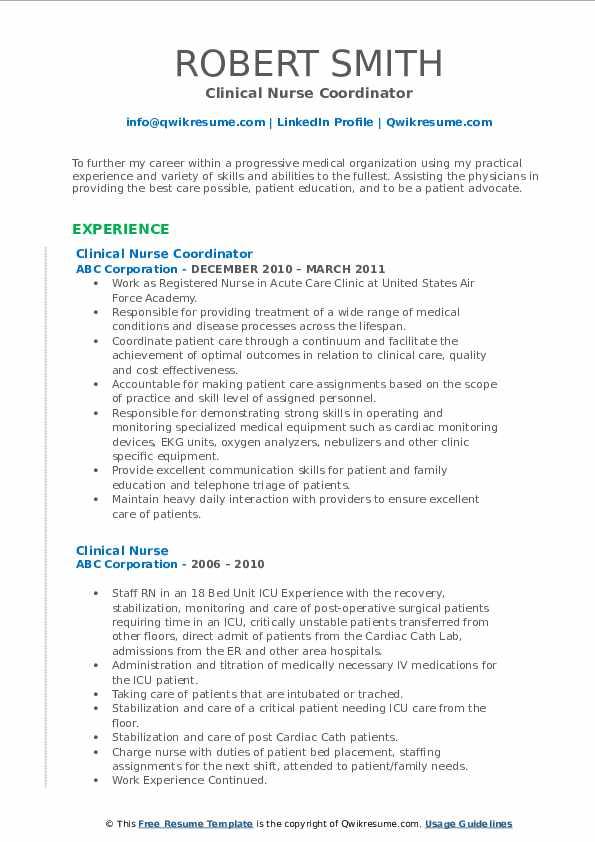 Clinical Nurse Coordinator Resume Example